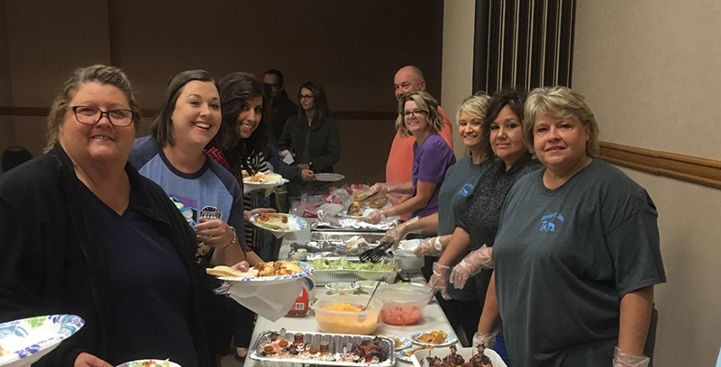 our ministry team feeding lunch to the Indian Child Welfare workers.